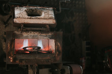 Metal For Horseshoes Smelting In Hot Furnace In Blacksmith Workshop On Ranch
