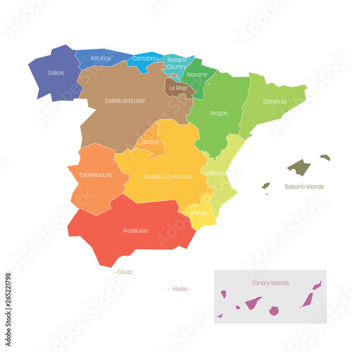 Political divisions of Spain. Map of regional country administrative divisions. Colorful vector illustration