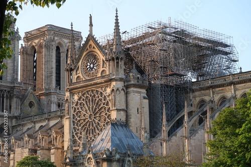 Carta da parati  Cathédrale Notre Dame de Paris après l'incendie du 15 avril 2019 : vue sur le pi