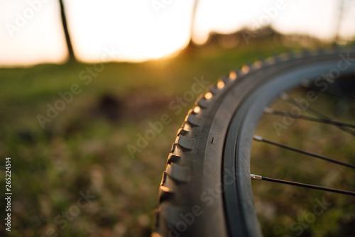 Türaufkleber Fahrrad Mountain bike detail close up, bicycle wheel