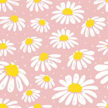 Seamless Daisy Pattern. Vector Floral Background With White Chamomiles.
