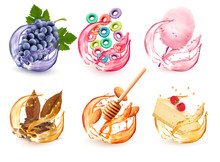 Set Of Different Products Flavors In Juice Splash. Grapes,  Fruit-flavored Cereal, Cotton Candy, Honey And Almond, Cheescake With Respberry, Tobacco. Vector Icons.