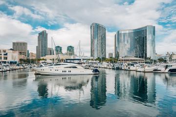 Modern buildings and marina at the Embarcadero in San Diego, California
