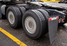 Wheelbase Of Big Rig Semi Truck With Two Axles And Pairs Of Wheels On Them And Fifth Wheel For Coupling