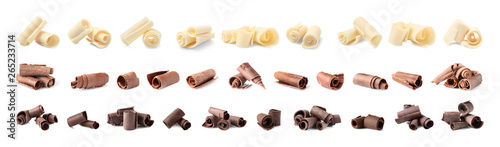 Cuadros en Lienzo Set of different delicious chocolate curls on white background