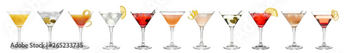 Fotografía Set of different delicious cocktails on white background