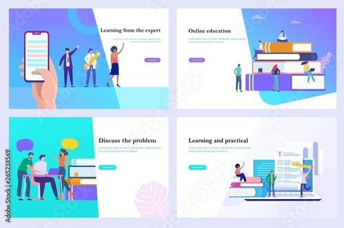 Online education, learning, 3d vector illustration design