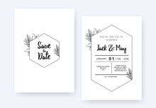 Minimalist Wedding Invitation Card Template Design, Foliage Line Art Ink Drawing With Hexagon Frame On White