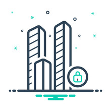 Mix Line Icon For Bulding Close City