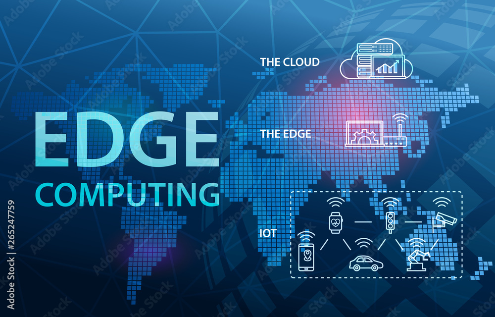 Fototapety, obrazy: Edge Computing Internet Cloud Technology Concept Background
