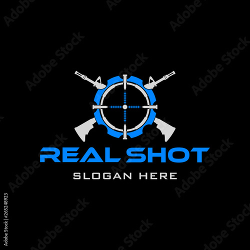 Tactical Target Rifle military Gear design armory squadrone team in circle logo Wallpaper Mural