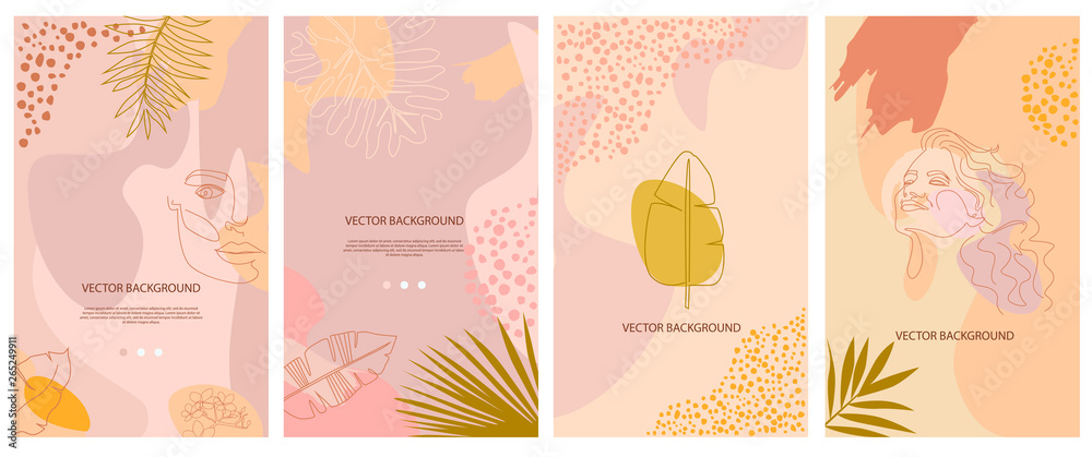 Fototapety, obrazy: Set of abstract background with tropical elements, shapes and girl portrait in one line style. Background for mobile app page minimalistic style. Vector illustration