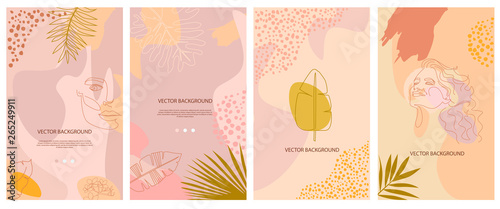 Obraz Set of abstract background with tropical elements, shapes and girl portrait in one line style. Background for mobile app page minimalistic style. Vector illustration - fototapety do salonu