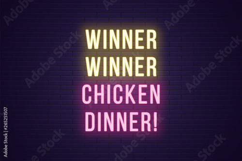 Neon gaming slogan, Winner Winner Chicken Dinner