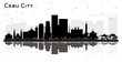 Cebu City Philippines Skyline Silhouette with Black Buildings and Reflections Isolated on White.