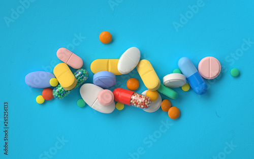 Photo  pile of colorful pills,3d rendering,conceptual image.
