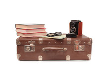 Vintage Suitcase And Old Camer...