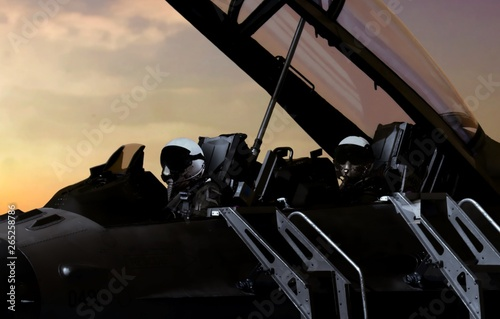 Photo Fighter pilot getting ready to take off