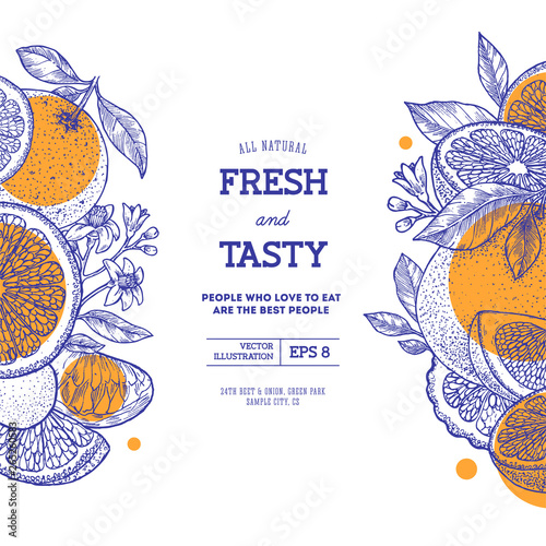 Citrus fun design template. Engraved style illustration. Orange, flowers, lemon, tangerine, grapefruit. Vector illustration - 265260583
