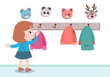 Kids Hanging Jacket Vector Illustration Isolated