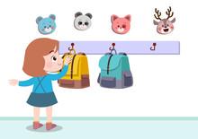 Kid Hanging Bag Vector Illustr...