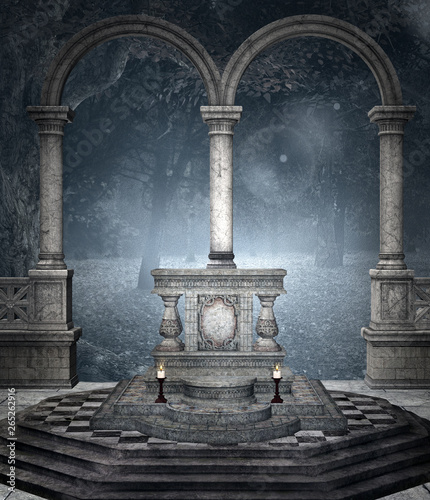 Leinwand Poster Ancient altar in the blue forest – 3D illustration