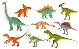 Fototapeta Dino - Cartoon dinosaur set. Cute dinosaurs icon collection. Colored predators and herbivores. Flat vector illustration isolated on white background