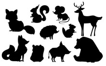 Forest Animal Set. Black Silhouette Animal Icon Collection. Predatory And Herbivorous Mammals. Flat Vector Illustration Isolated On White Background