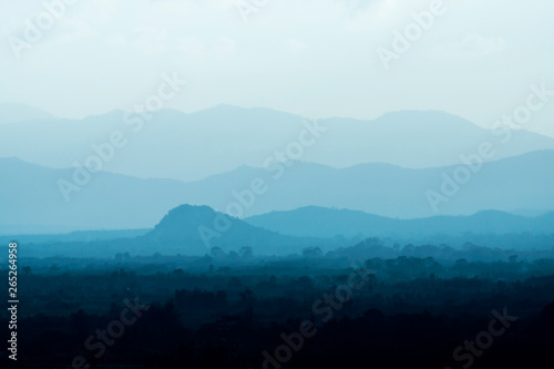 Poster Turquoise Landscape the layer of soft silhouette mountain