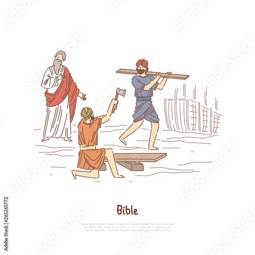 Noah building ark myth, legend, Bible story plot, saint