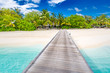 Amazing beach scene, long jetty into the palm trees. Maldives, paradise beach background, design banner. Luxury tourism travel destination concept