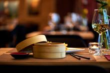 Dim Sum In Bamboo Steamed Bowl Asian Restaurant