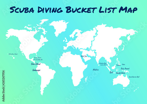 Garden Poster Retro sign map of scuba diving world best place. Bucket list for all diver