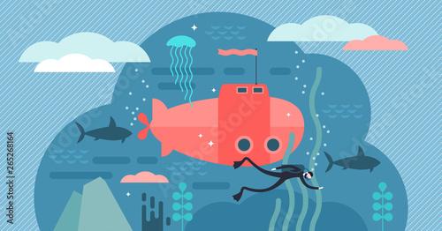 Fotografia, Obraz Oceanography vector illustration