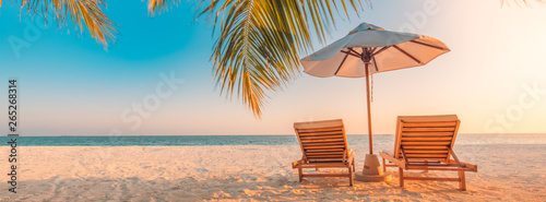 Beautiful tropical beach banner. White sand and coco palms travel tourism wide panorama background concept. Amazing beach landscape