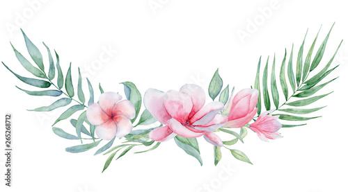 Cuadros en Lienzo Tropical watercolor flowers and leaves