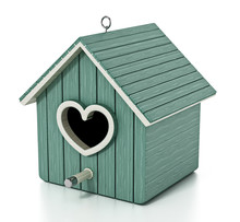 Bird House With Heart Shaped D...