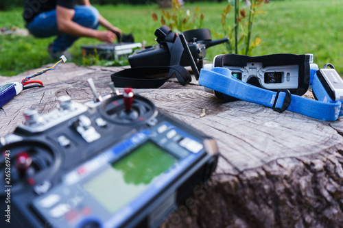 Fototapeta  Video monitors-glasses for model control  and others special devices for control of a radio controlled sports drone