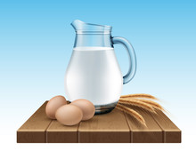 Vector Illustration Of Glass Jug Of Milk With Wheat Ears And Eggs On Wooden Stand On Background