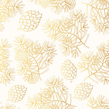 Hand Drawn Seamless Pattern With Golden Pine Branches And Cones. Vector Christmas Gift Gold Wrapper Background.