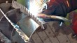 Sparking of Welding Metal Structures / Welding of steel parts in the metal industry