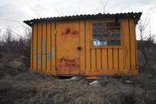 Old Rusty Abandoned Kiosk Stor...