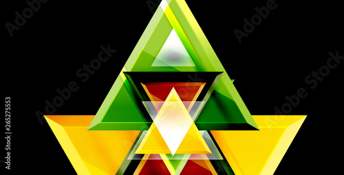 Photo Stands Glossy shiny triangles background