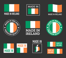 Made In Ireland Labels Set, Re...