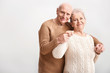 canvas print picture - Portrait of senior couple on white background