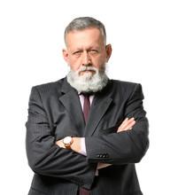 Suspicious Mature Businessman On White Background