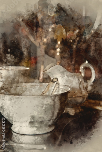 Fotografering  Watercolor painting of 18th Century cups and saucers crockery on inlaid wooden s