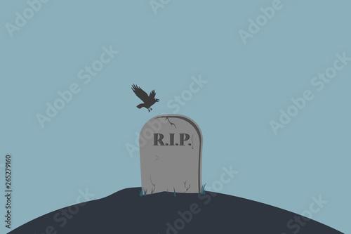 Valokuvatapetti Tombstone with the inscription RIP