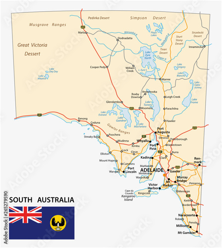 Road Map Victoria Australia.Road Map Of The State South Australia With Flag Buy This Stock