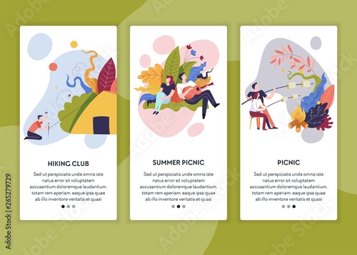 Fototapety, obrazy: Hiking club and summer picnic online web pages templates